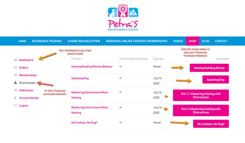 Petra's Dog Resource Center - Dashboard Shop